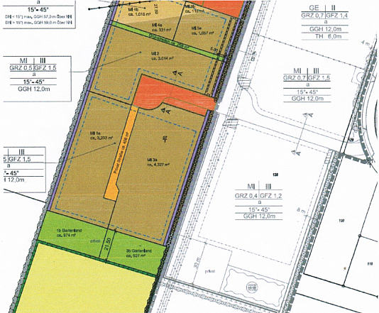 Bauplan vom Projektierten Grundstück für ein Pflegeheim