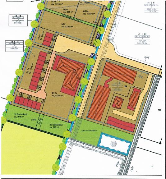 Bauplan vom Projektierten Grundstück für ein Pflegeheim (Anlage)